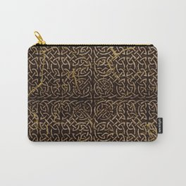 Celtic Wood Pattern with Gold Accents Carry-All Pouch