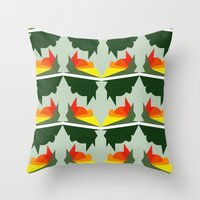 ships Throw Pillows featuring Burning Ships by Mimi