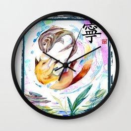Ying Yang Fox In The Air With Fish Wall Clock