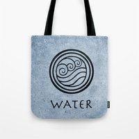 avatar the last airbender Tote Bags featuring Avatar Last Airbender - Water by bdubzgear
