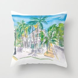 Conch Houses on Whitehead Street Key West Throw Pillow