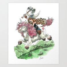 Barbarian Unicorn Art Print