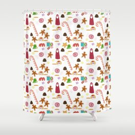 Christmas Sweeties Candies, Peppermints, Candy Canes and Chocolates Shower Curtain