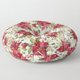 POINSETTIA - FLOWER OF THE HOLY NIGHT Floor Pillow