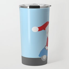Santa Claus coming to you on his Scooter Travel Mug