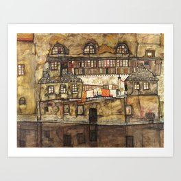 Egon Schiele - House Wall on the River, 1915 Art Print