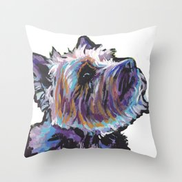 Fun Cairn Terrier Dog Portrait bright colorful Pop Art Painting by LEA Throw Pillow