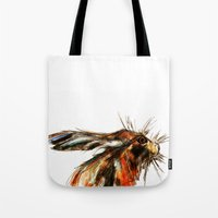 hare Tote Bags featuring Hare by a collection. James Peart