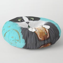 Tuxedo Cat With Iced Coffee Floor Pillow