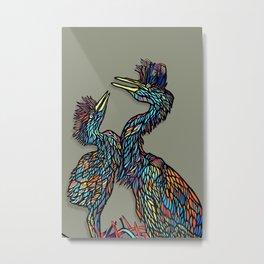 Mother & Baby Heron Metal Print