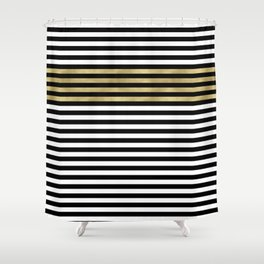 Chic Black, Gold and White Stripes Shower Curtain