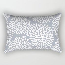 Grey and White Abstract Firework Flowers Rectangular Pillow