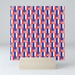 Mix of flag: france and usa Mini Art Print