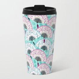 Oriental Hand Fan Pattern Travel Mug