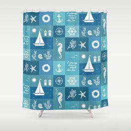 Vintage nautical items & sea creatures blue board Shower Curtain