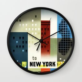 New York, American Air Lines - Vintage Poster Wall Clock