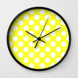 Yellow With Large White Polka Dots Wall Clock