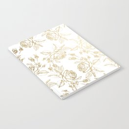 Vintage white faux gold roses floral Notebook