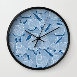 Geometric Easter bunnies // slate blue linen texture background blue rabbits with classic blue ears white lines Wall Clock