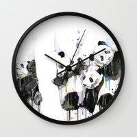 pandas Wall Clocks featuring Pandas by ellaclawley