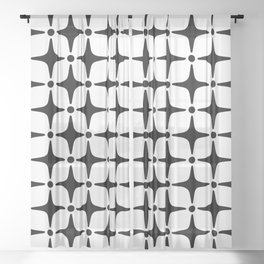 Mid Century Modern Star Pattern Black and White Sheer Curtain
