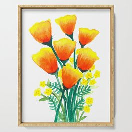 California Poppies Serving Tray