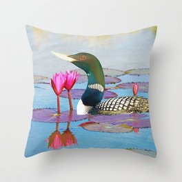 Yellow Billed Loon and Pink Lotus Flowers Throw Pillow