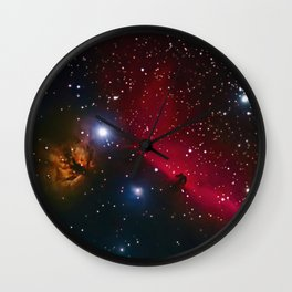 Horsehead and flaming tree nebula in space Wall Clock