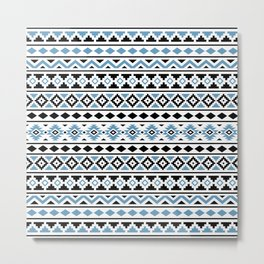 Aztec Essence Pattern II Light Blue Black White Metal Print