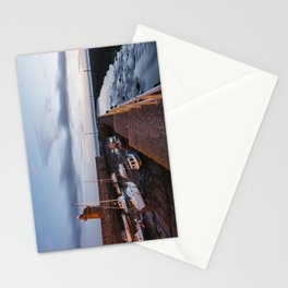 Boats in Lynmouth Harbour at dawn twilight. Devon, UK. Stationery Cards