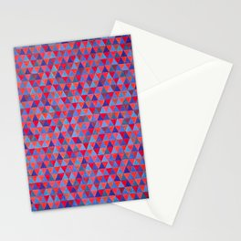 Blue and Red Triangle Tile Painting Stationery Cards