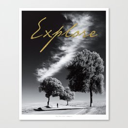 "Black and white ""Explore"" Poster Canvas Print"