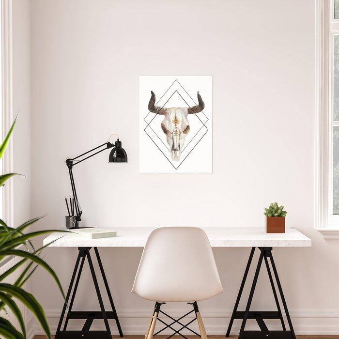 Geometric bull skull Poster