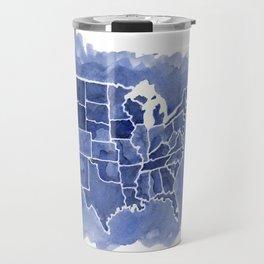 Watercolor Map of America Travel Mug