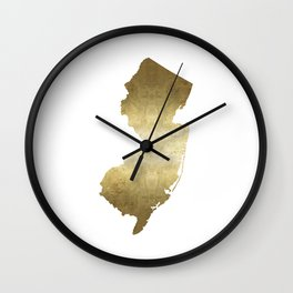 New Jersey state map gold foil Wall Clock