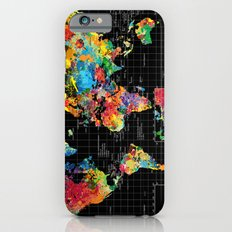 Abstract World Map Black Slim Case iPhone 6