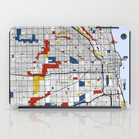 chicago map iPad Cases featuring Chicago by Mondrian Maps