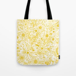 Yellow Floral Doodles Tote Bag