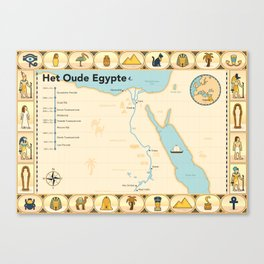 Geïllustreerde kaart van Het Oude Egypte Canvas Print