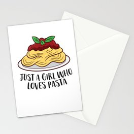 Just a Girl Who Loves Pasta Food Lover Italian Pasta Stationery Cards