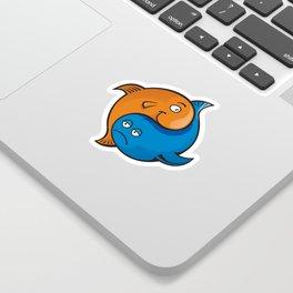Yin Yang Fish Cartoon Sticker