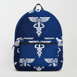 Caduceus medical symbol with two snakes sword and wings Backpack