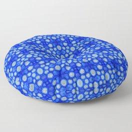 Nasturtium seed storage cells - blue Floor Pillow