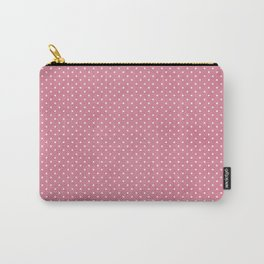 Vintage girly pink white hipster cute polka dots pattern Carry-All Pouch