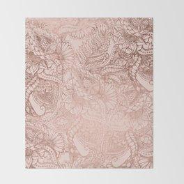 Modern rose gold floral illustration on blush pink Throw Blanket