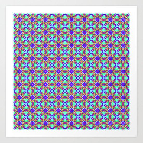 Tribal patterns in rainbow colors Art Print
