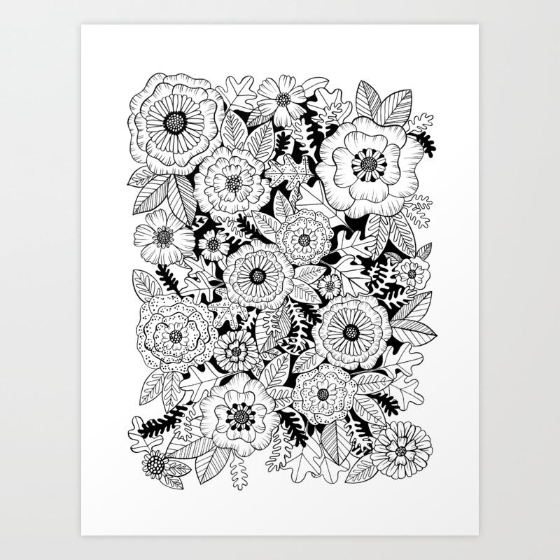 Black and white floral love art print by kristinnohe society6
