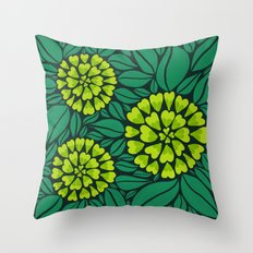 Spring Green Floral pattern Throw Pillow