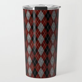 Textured Argyle in Black, Red and Gray Travel Mug