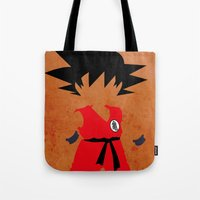 dragonball Tote Bags featuring Goku by JHTY